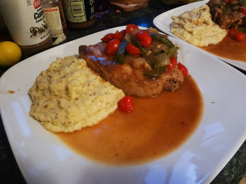 Apple Butter Braised Pork Chops with Parmesan Potato and Cauliflower Mash