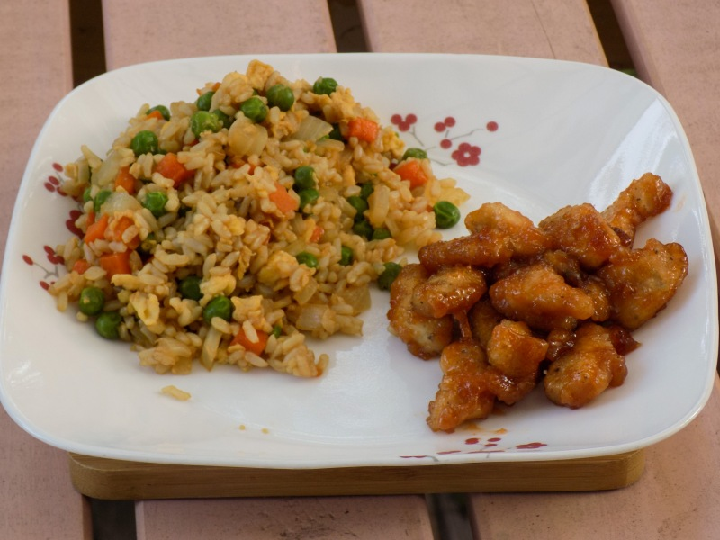 Calorie-cutting Baked S&S Chicken with Fried Rice
